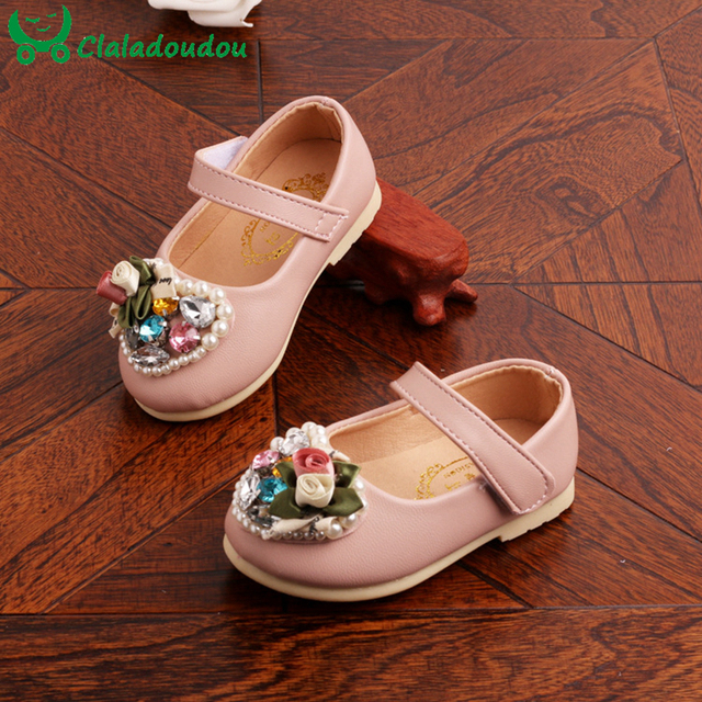 Newborn Baby Shoes Girl Princess Party Flower Crystal Pearl Cute Shoes Anti-slip Chaussure Fille Infant Outdoor Shoes 0-1-2Years