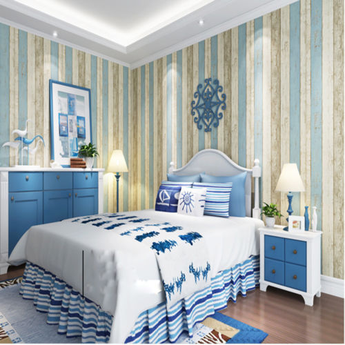 Q QIHANG Simplicity Mediterranean Striped Style Non Woven Blue Cream Wallpaper 053m10m53m2 In Wallpapers From Home Improvement On Aliexpress