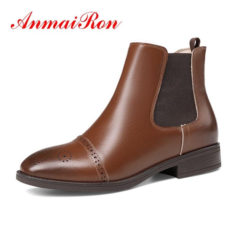 3ac7eae7844ff Zyl1273 Mujer Toe Taille sur Carré Femmes Anmairon Coudre Arrivée 34 brown  Dame Slip Bottes Cheville ...