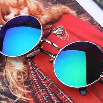 5cc5ddf735 Nueva Marca diseñador clásico polarizado ronda Gafas de sol hombres  pequeños vintage retro John Lennon Gafas