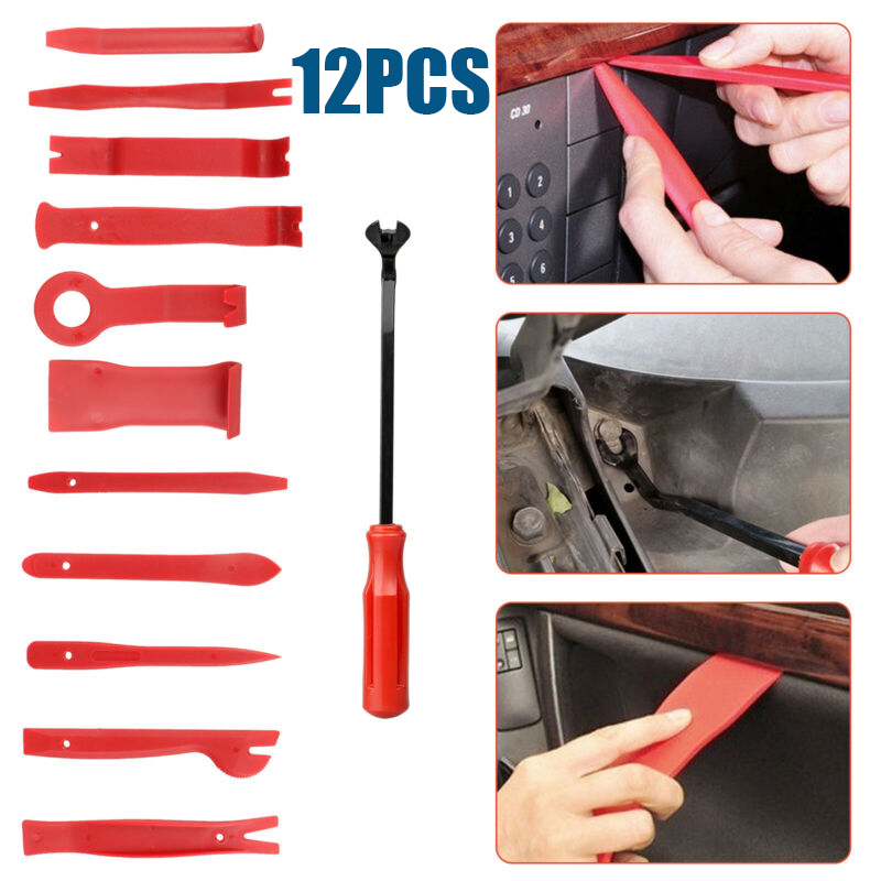 12 X recorte herramienta de eliminación de conjunto de herramientas de mano barra de la puerta del Panel Interior Clip Kit
