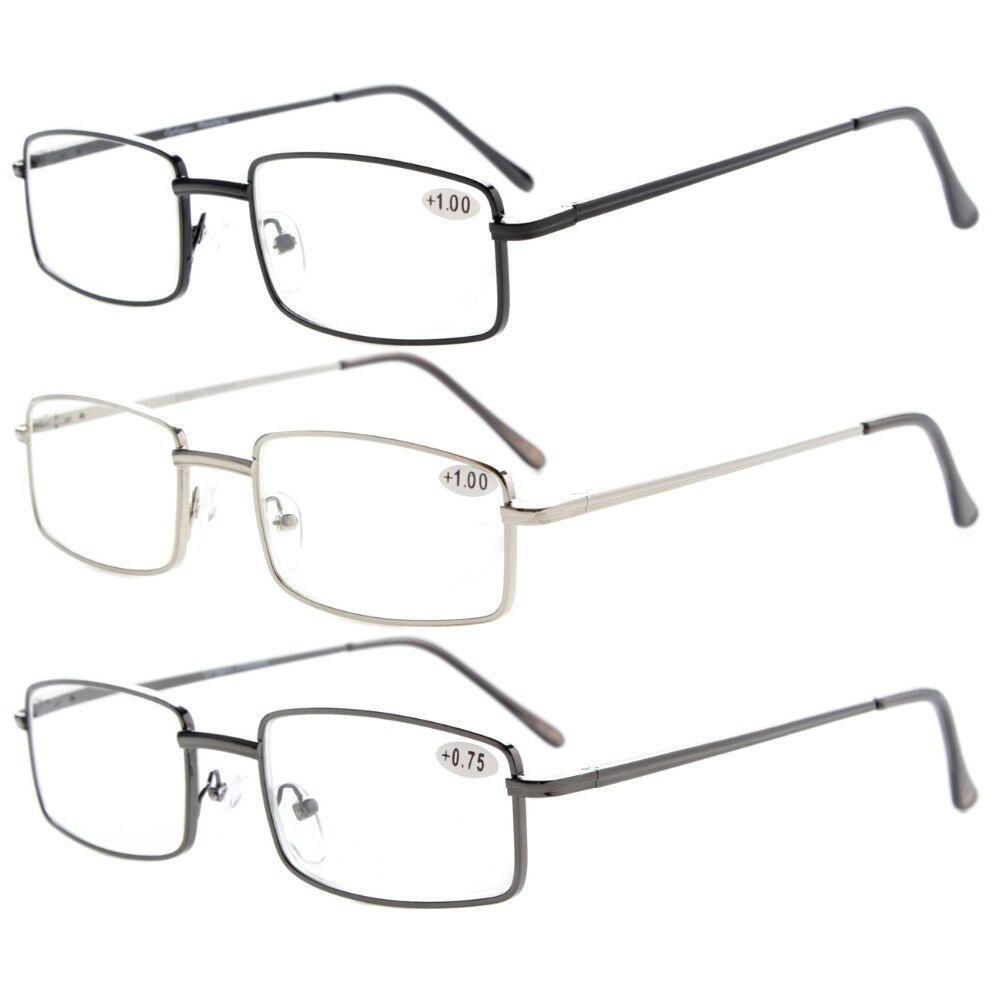 Eyekepper R15022 Mix 3 pacote Leitor Retangular Primavera Templo Óculos de  Leitura de Metal Médio + 0.50 --- + 4.00 0fdca06057
