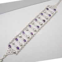 Chanti International Pure Silver Amethysts & PEARL HANDCRAFTED Bracelet 9 Inches GIRLS' JEWELRY