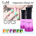 6 Pcs Free Shipping Lvmay Famous Brand Temperature Changing Gel Soak Off Uv Nails Polish Colour Cosmetic Arts Factory Supplies