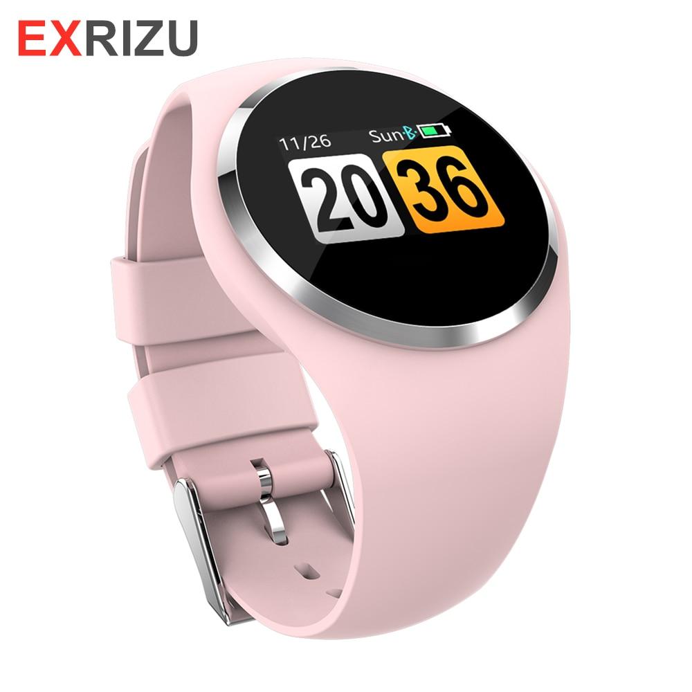 EXRIZU 2019 montre intelligente de mode HR tensiomètre femmes dame fille rappel physiologique Smartwatch pour Android iOS