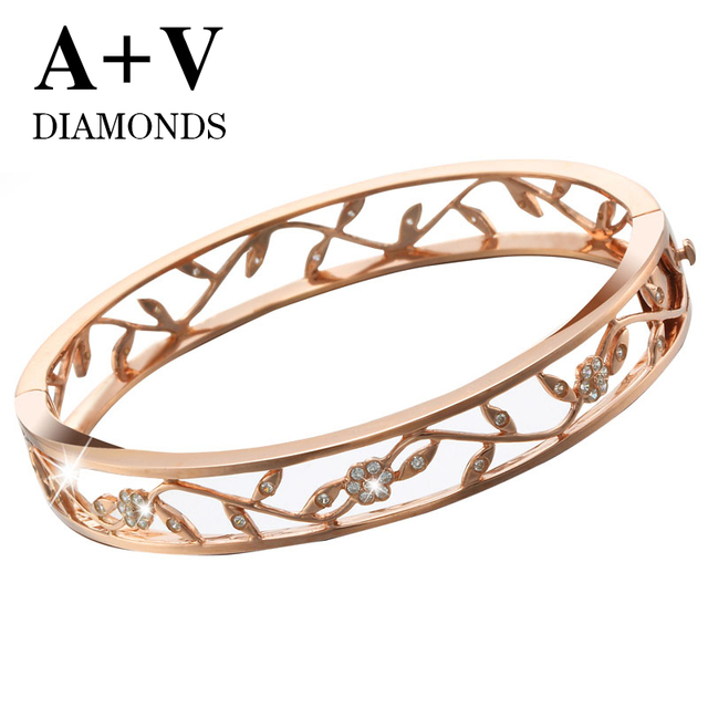 free shipping 18k rose gold nature diamond modren classic plant bangle for women engagement wedding