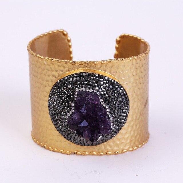charms Original design  gold plated copper pave purple amethyst shine black rhinestone adjustable open bangle for women