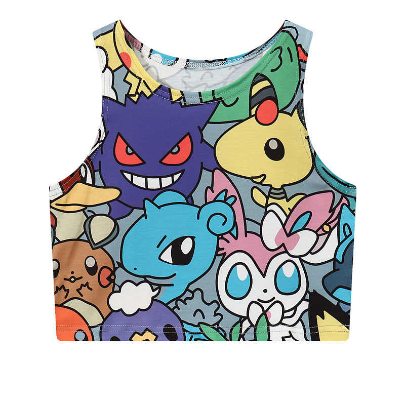 Tank top Pokemon pikachu Gengar cartoon turtle sexy sleeveless vest female women t-shirt short crop tube women tank vest cotton