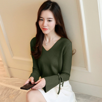 2018 Women Shirts Flare Sleevelt Knitting Brief Paragraph Sweater Backing Blouse Shirt Dark Green Yellow Black Bright Red 975