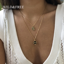 Wild & Free New Geometric Pendant Necklace for Women Original Design Simple Enamel Drip Round Heart Cross Jewelry Gift