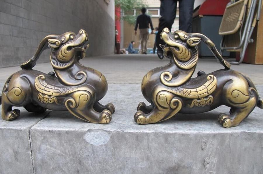 Royal Pure Bronze exquisite Feng Shui Evil Door Foo Dog Lion kylin Chi-Lin PairRoyal Pure Bronze exquisite Feng Shui Evil Door Foo Dog Lion kylin Chi-Lin Pair