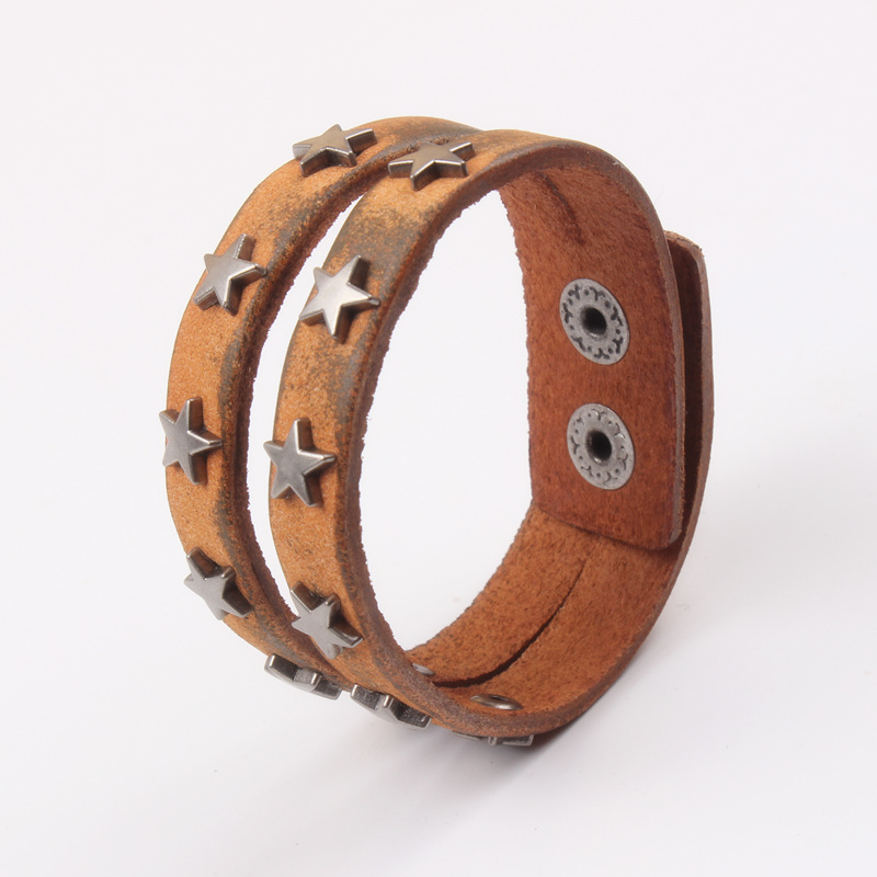 HOTSALE Brown Real Cow Leather bracelet for men boys girls hand cuff jewelry GOOD QUALITY DROP SHIPPING