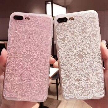 Vintage Mandala Fleur Étui Souple pour iPhone 7 6 6 s 8 Plus 7 Plus Téléphone Cas XS Max XR X Mode Rose Blanc En Dentelle Florale Retour Couverture
