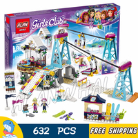 591pcs Friends Snow Resort Ski Lift Trail map stand 10732 Model Building Blocks Girls Children Toys Bricks Compatible With Lego