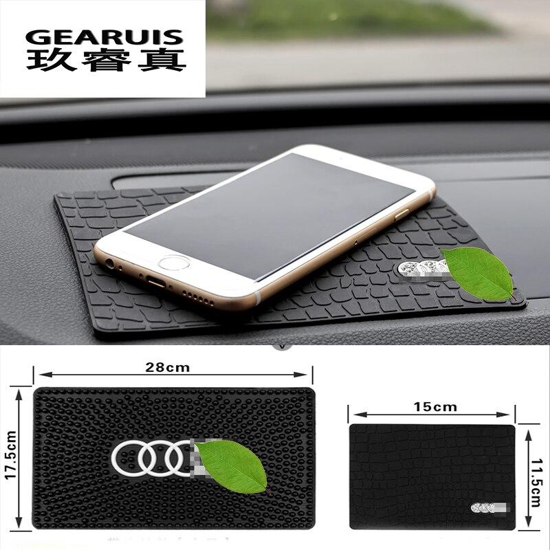 Silica gel car anti slip mat cellphone holder phone for audi a1 a3 a4 a6 a8 q3 q5 q7 withInterior supplies For Audi logo