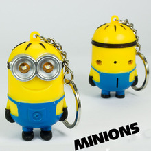 1PCS Mini Led Lighting 3D Minion Toys Keychains