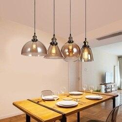 Amerykańska retro szkło przemysłowe żyrandol metal retro dekoracyjne wiszące lampy domu handlowego restauracja cafe bar żyrandole
