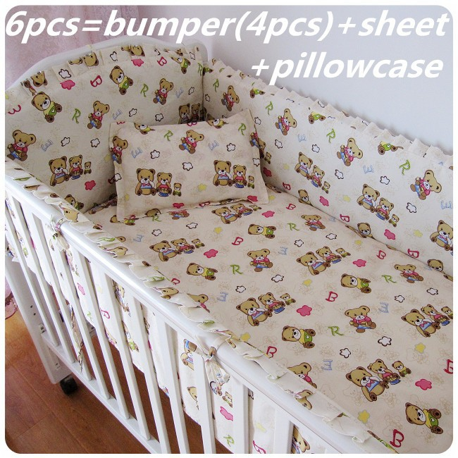 Promotion! 6PCS Bear Baby crib bedding set,baby furniture,100% cotton bedclothes (bumper+sheet+pillow cover) promotion 6pcs bear crib bedding set 100