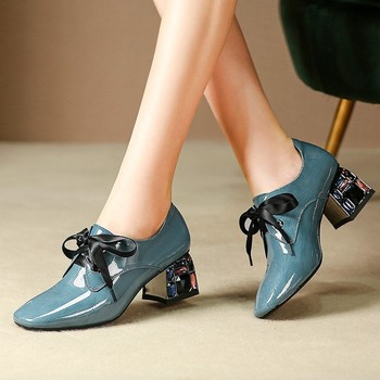 MLJUESE 2020 women pumps cow leather autumn spring lace up blue color crystal square toe high heels lady shoes party size 34-42