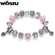 European Style 4 Colors Silver Crystal Charm Bracelet for Women With Original Pink Murano Glass Beads