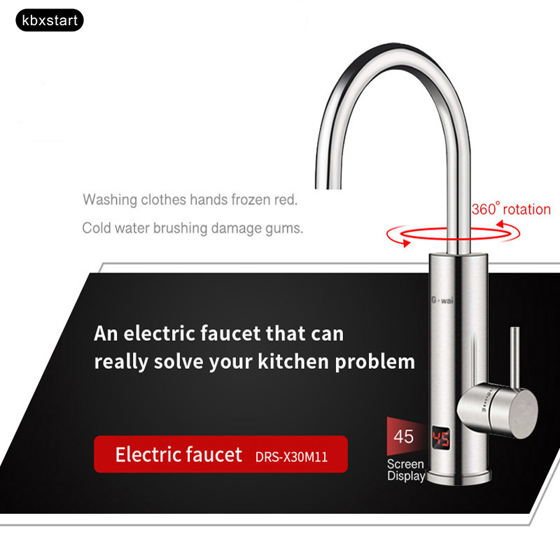 Instant Tankless Electric Continuous Water Heater Kitchen Faucet Heating Water Hot Stainless Tap With Temperature Display