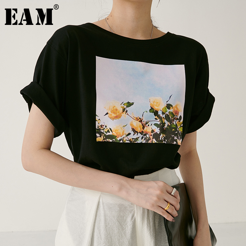 [EAM] 2020 New Spring Summer Round Neck Short Sleeve Black Loose Patter Printed Personality T-shirt Women Fashion Tide JW877