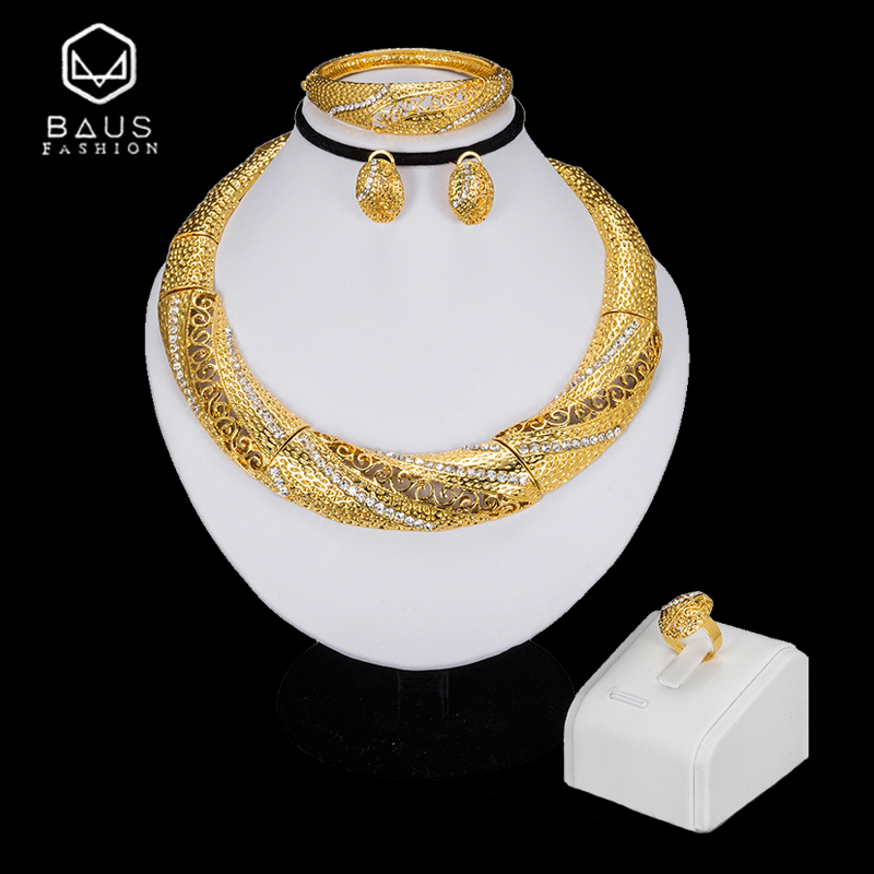 BAUS Exquisite Dubai jewelry sets luxury Golden color indian jewelry big Nigeria African jewelry wholesale jewelry Accessories