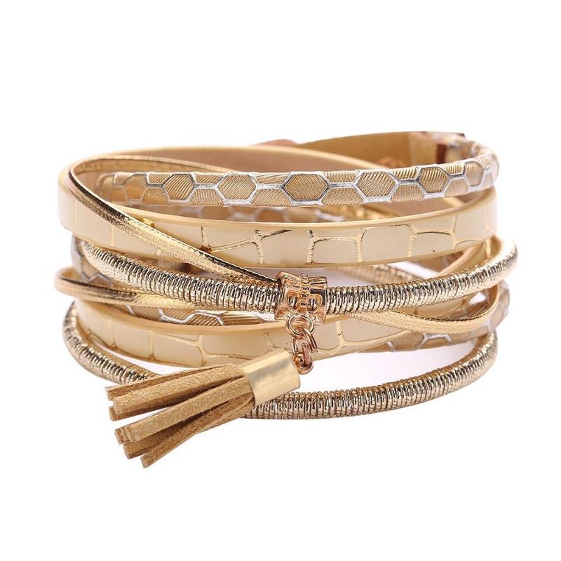 Hot Sale Fashion Unisex Bracelets Europe Crystal Multilayer Wrap Alloy Pu Leather Bracelets Leave Pendant Winding Weaved Jewelry Gift Elegant In Smell
