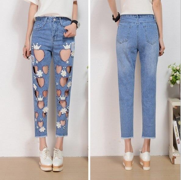 Grande taille Sexy jean boyfriend pour les femmes bleu pantalon denim avec perles coréenne évider coeur trous jeans femme Cheville Longueur