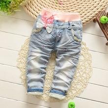 Haute qualité bébé filles Jeans enfants bande dessinée poches pantalon printemps enfants jeans pour filles 0-2 ans