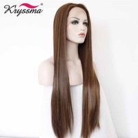 Brown Wig Long Straight Synthetic Lace Front Wig Highlights Wigs for Women 24 Inches Right Part Glueless Fake Hair 150% Density
