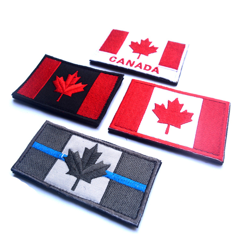 CANADA FLAG PATCH CANADIAN Embroidered TACTICAL Patch Hook