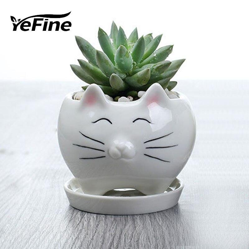 YeFine Little Cat Cartoon Ceramic Flower Pot Tray Garden Plants Pot Fashion Home Decoration Succulent Pot