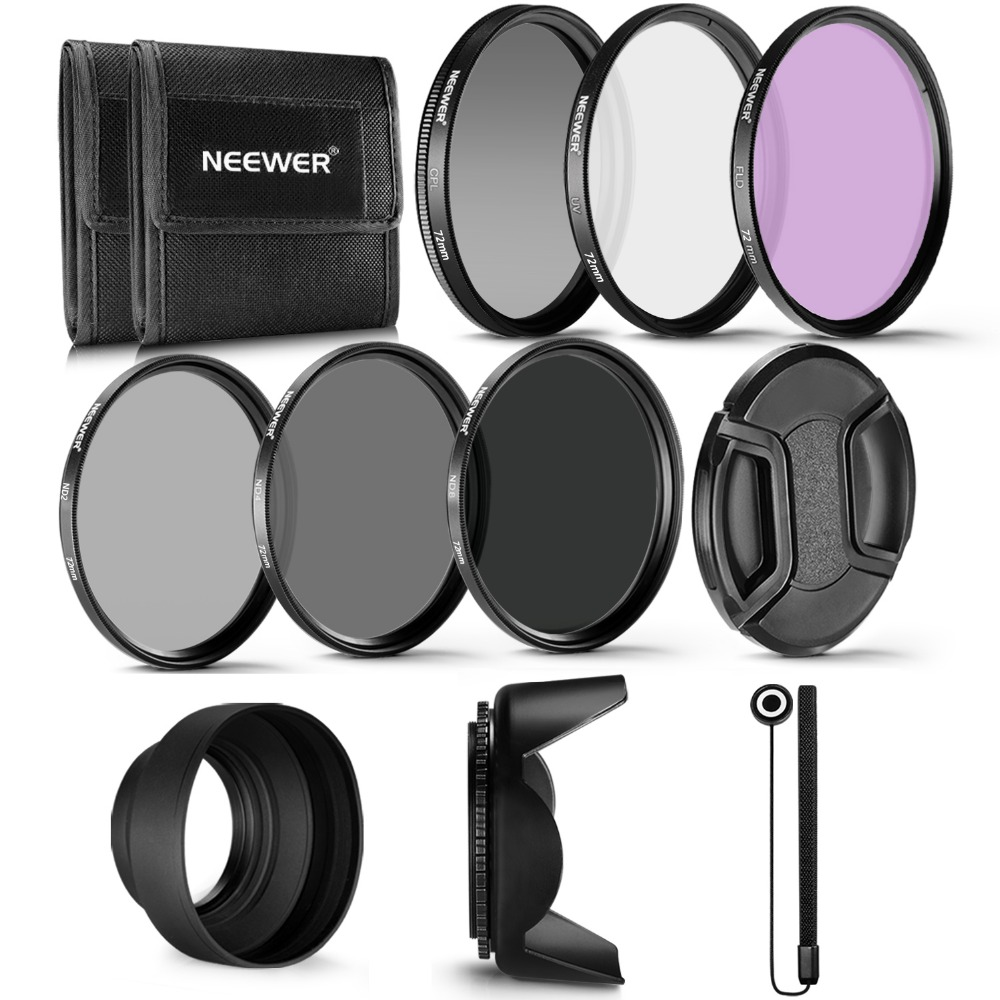 Neewer 72MM Professional UV CPL FLD Lens Filter+ND Neutral Density Filter(ND2/ND4/ND8)Kit for Canon EF 35mm f/1.4L EF 85mm f/1.2 cestbeau no splicing real crocodile belly man bag men handbag briefcase 2018 new business men bag with computer layer