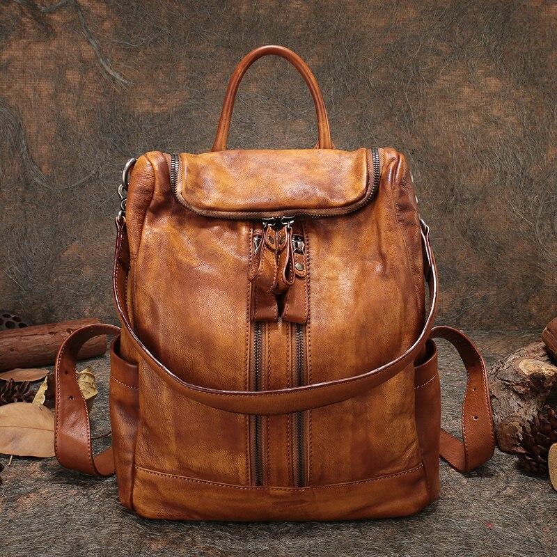Ручной работы в стиле ретро рюкзак Для женщин большой мешок руки из натуральной кожи леди плечо сумки высокого Ёмкость рюкзак женский много
