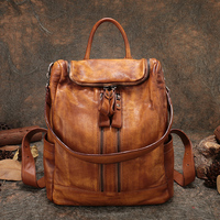 Retro Handmade Backpack Women's Big Hand bag Genuine Leather Lady Shoulder Bags High Capacity Rucksack Female Multifunction Bags