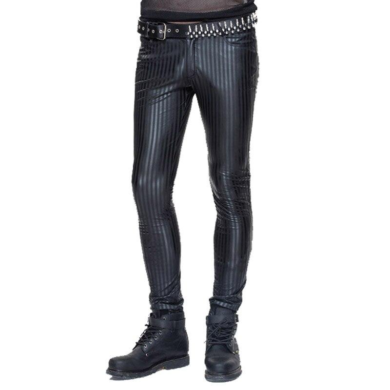 Devil Fashion Punk Men Tight Pants Steampunk Black Casual Tight Trousers Striation Skinny Pants