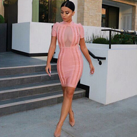 Newest Fashion Celebrity Party Bodycon Bandage Dress Women Short Sleeve O Neck Sexy Night Out Dress Women Vestidos Wholesale