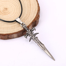 Hot Anime Metal Sword Pendant Necklaces Black Leather Rope Chain DIY Warcraft Games Women Men Necklace Wholesale Collier Collars