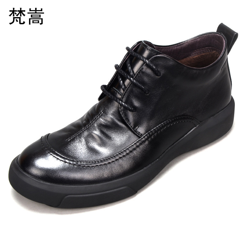 High Quality Genuine Leather Shoes Men Lace Up Business Men Shoes all match cowhide cowboy boots mens Riding boots snow winter