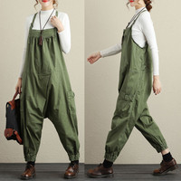 Free Shipping 2019 New Fashion Ladies Overalls Cotton Loose Jumpsuits And Rompers Embroidery Flower Plus Size Ankle Length Pants