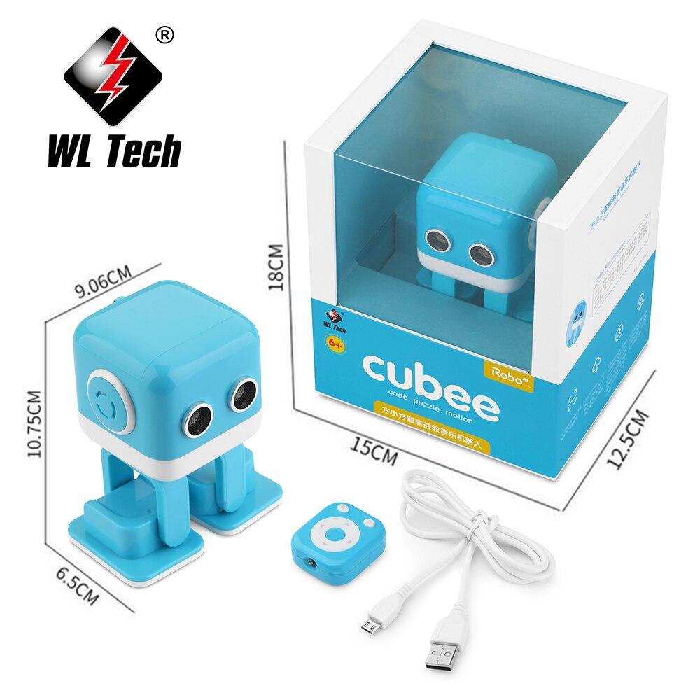 WLTOYS Cubee RC Robot inteligente Altavoz Bluetooth baile Musical juguete atractivo cara LED escritorio regalo B gesto Interative