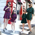 2017 Fashion Plaid Mother Daughter Dresses Cotton Family Matching Outfits Spring Dresses For Girls And Ladies Full Dress Family