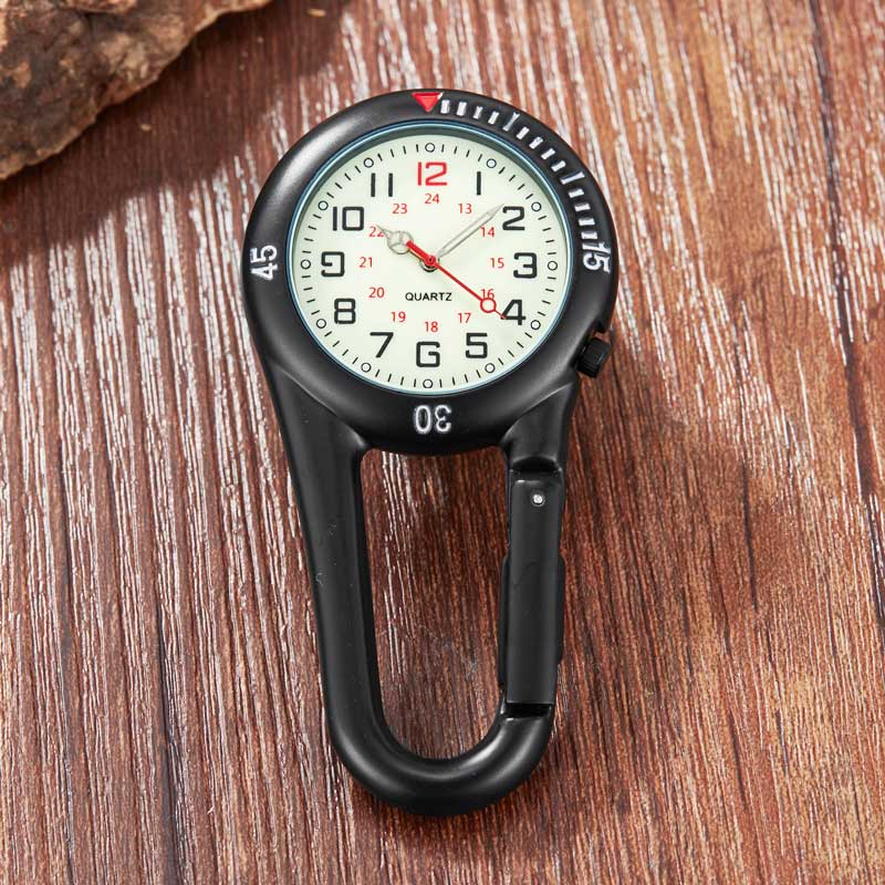 Simple Clip-On Carabiner Keychain Pocket Watch Men Women Outdoor Sport Climbing Watches Quartz Pocket Watch