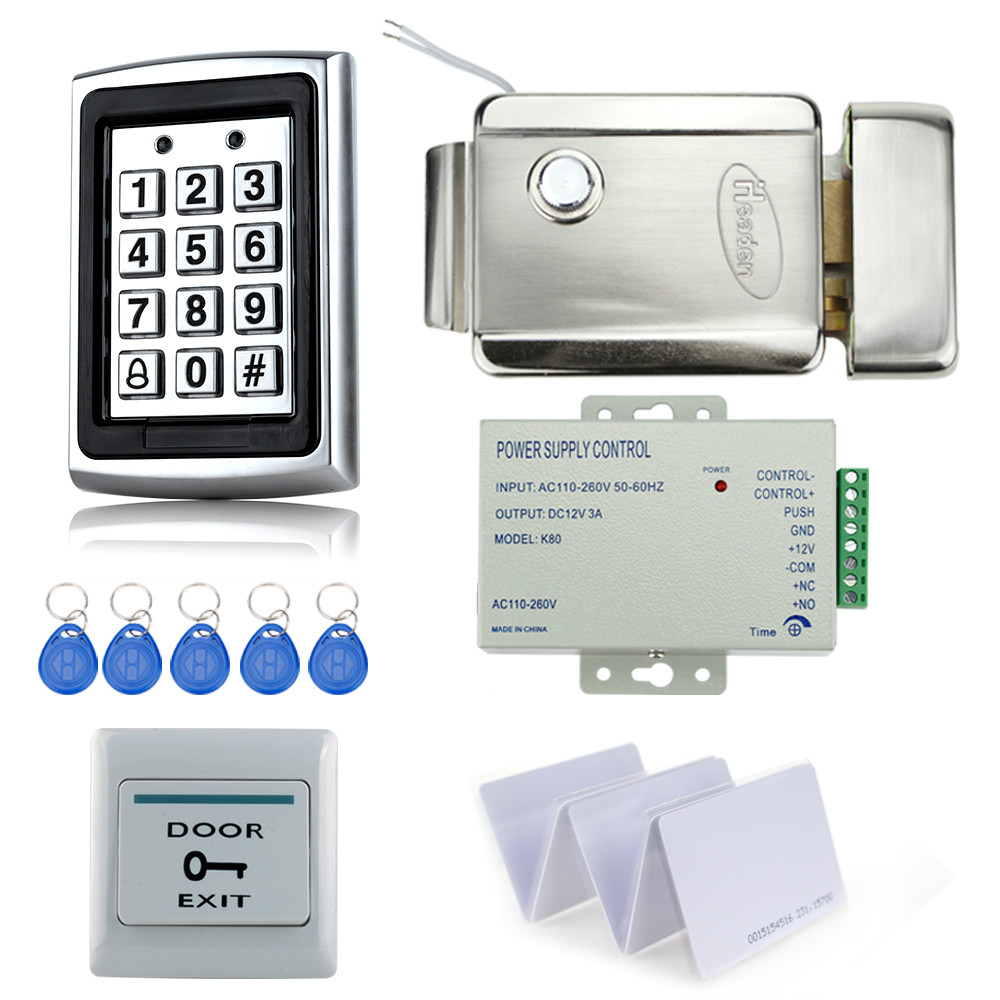Hot sale metal access controller kit set with electric security door control lock+power supply+exit button+10pcs key cards best! free ship by dhl access control kit waterproof access control switch power electric mute lock exit button 10 em cards sn em t10