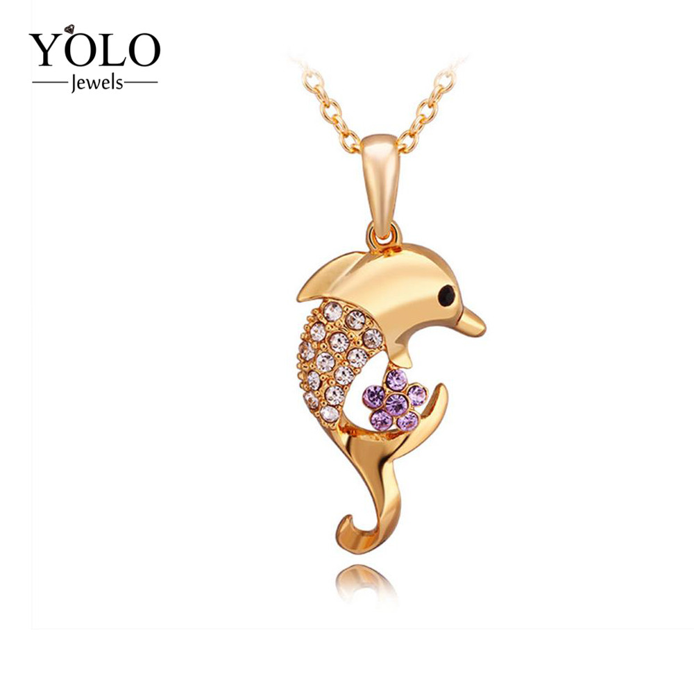 Gold Color Necklace With Dolphin Pattern RhineStone Crystal Pendant Necklaces Jewelry Love Gift Suitable for Parties