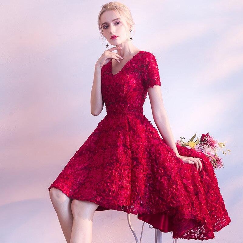 Купить женское вечернее платье кружевное с коротким рукавом и цветочным