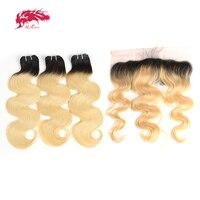 Али queen hair человеческих волос 3 Связки натуральная волос Бразильский объемная волна Закрытие уха до уха Кружева Фронтальная Закрытие с пучк