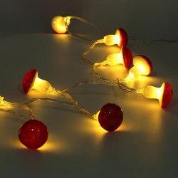 2 метра 30LED грибной струнный светильник, лампа с батарейным отсеком, вечерние садовые декоративные лампы для дома, Сказочная проволока, пода...