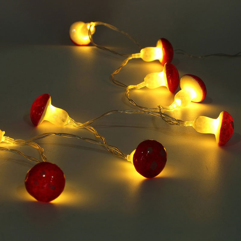 2 Meters 30LED Mushroom String Light Lamp With Battery Box Garden Party Decor Lamp Home Fairy Wire Children Gift